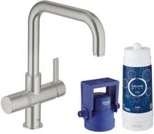 Grohe Blue Pure Starter Kit, mit Filter, bis 180° schwenkbar, supersteel (31299DC1)
