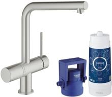 Grohe Blue Minta Pure Starter Kit, mit Filter, bis 150° schwenkbar, supersteel (31345DC2)