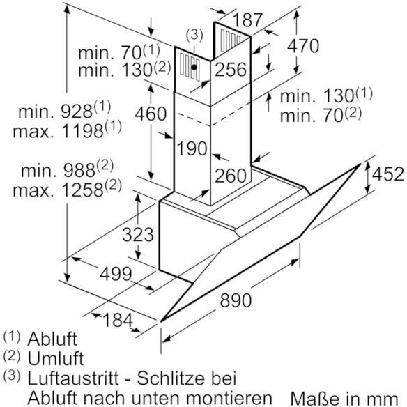neff dihm 951 s kopffrei dunstabzugshaube d95ihm1s0 89 cm breit ab umluft edelstahl eek. Black Bedroom Furniture Sets. Home Design Ideas